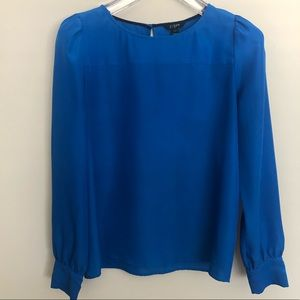 J.CREW Cobalt Blue Long-Sleeve Keyhole Tunic Top